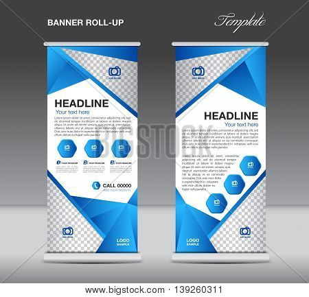 Blue Roll up banner stand template flyer design display polygon background