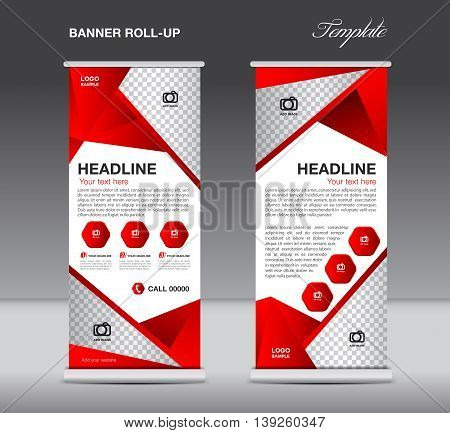 Red Roll up banner stand template flyer design display polygon background
