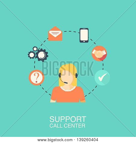 Call center with girl flat style green banner. Vector illustration