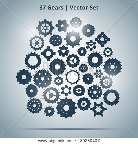 Vector set of 37 blue gears on light background with lights