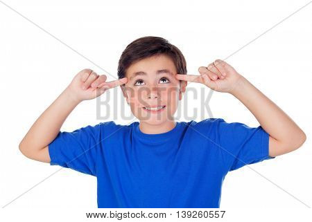 Funny child with ten years old and blue t-shirt having a good idea isolated on a white background