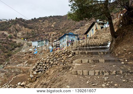 View on Namche Bazar. Khumbu district in Himalayas Nepal