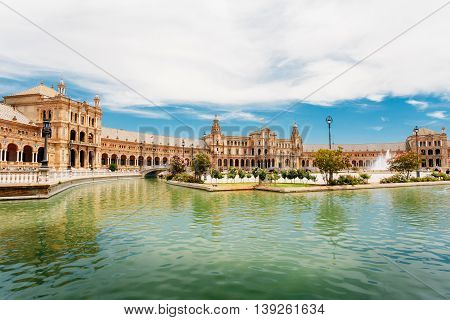 Famous landmark - Plaza de Espana in Seville, Andalusia, Spain. Renaissance Revival style. Spain Square.
