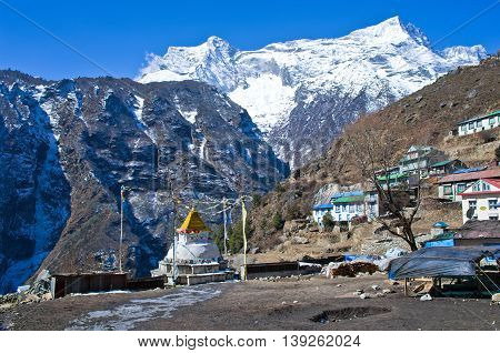 Buddhist Stupa In Namche Bazar. Everest Region, Nepal