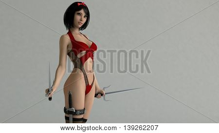 3d illustration of a pretty asian young girl in red outfit holding sai