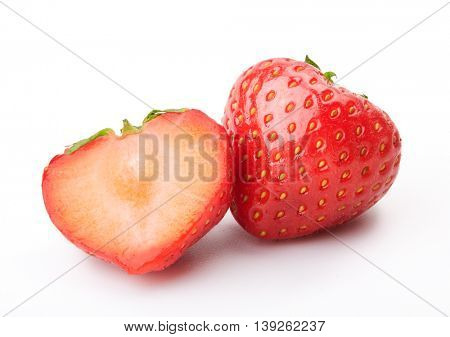 Fresh ripe strawberries on a white background