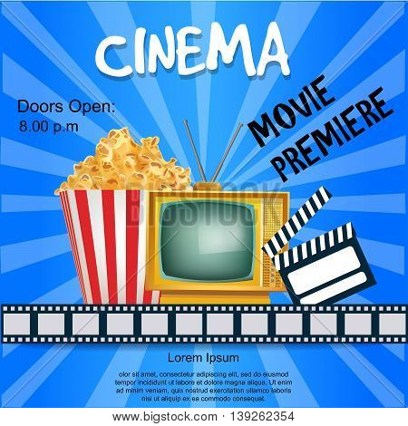 Realistic Cinema Poster. Movie Premiere. Template Banner with TV Popcorn Clapper and Film. Vector Detailed Illustration on Blue Background.