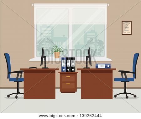 Workplace for two office workers. Vector flat illustration. On the picture the tables, a chairs, the  computers,  folders and other objects are situated on a window background
