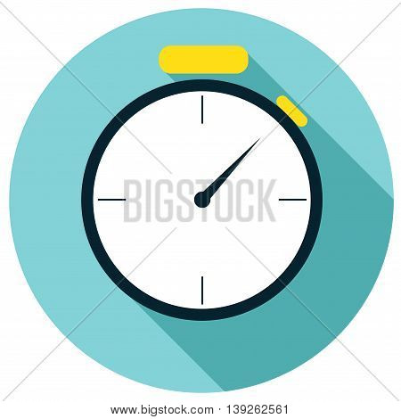 Stopwatch flat icon with shadow and blue background, vector illustration