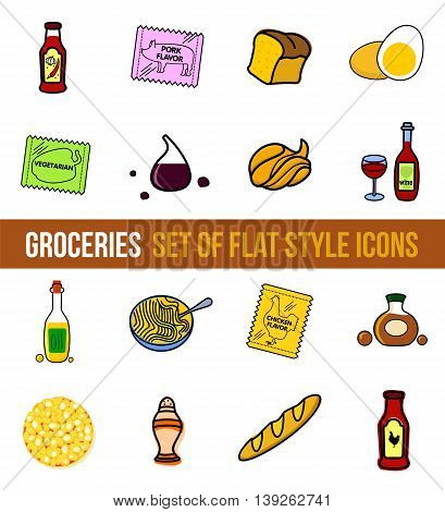 Vector set of grocery food in flat style isolated on white background.