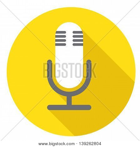 Table microphone icon on yellow background vector illustration
