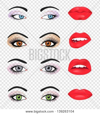 Set of glamour lips with pink lipstick color. Vector illustration for fashion design. Beautiful shiny femile mouth collection isolated on white background. Women smile, teeth. Sexy icon sign symbol