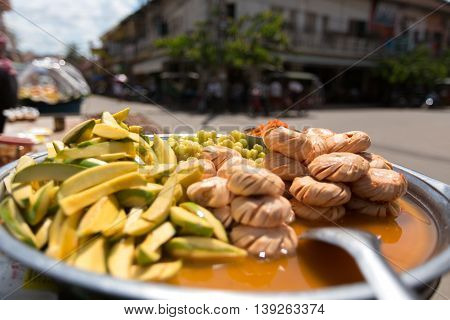 local fruits on the street in marinade souse