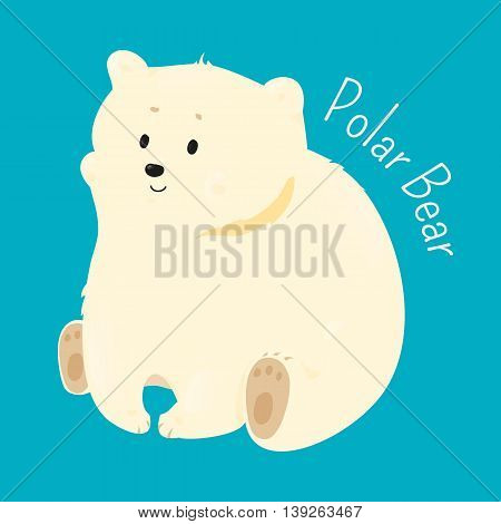 Polar bear isolated on white background. Ursus maritimus. Marine mammal. Maritime. Vulnerable specie. Part of series of cartoon northern animal species. Child fun pattern icon. Vector