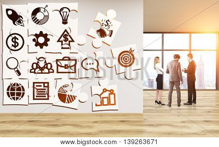 Business icons puzzle on concrete wall of unfurnished office with wooden floor businesspeople and New York city view with sunlight. 3D Rendering