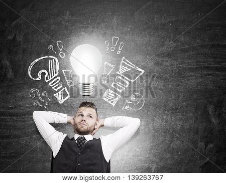 Businessman With Lightbulb, Idea Concept