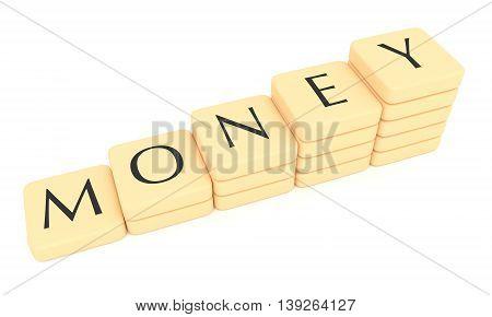 Stairs of letter tiles: money 3d illustration