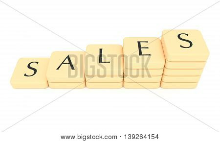 Stairs of letter tiles: sales 3d illustration