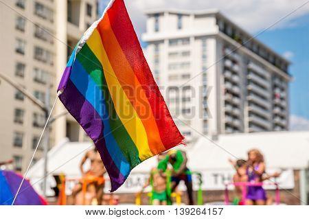 Gay Rainbow flag during 2016 Gay parade in Toronto Canada 2016