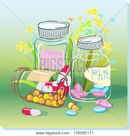 Medical Vector Illustration transparent bottles with different pills on a background of grass and flowers on the theme of phytopreparations and herbal medicine.
