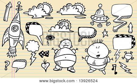 Notebook Doodle Clip art Design Elements Mega Vector Illustration speech bubble Set