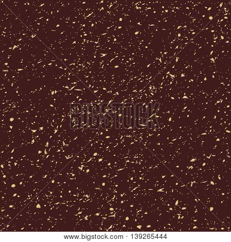 Geometric seamless background with ink splashes and stains. Abstract brown and golden texture