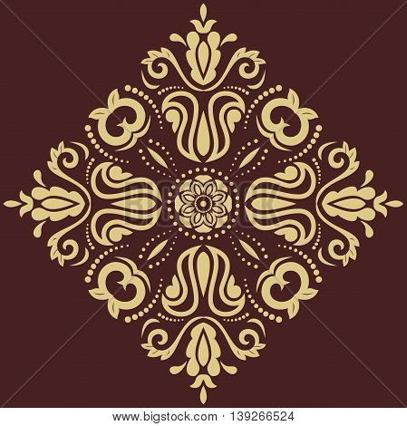 Oriental pattern with arabesques and floral elements. Traditional classic brown and golden ornament