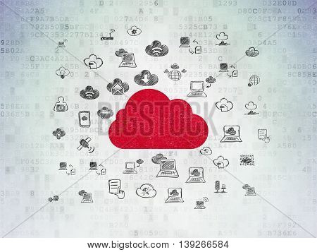 Cloud computing concept: Painted red Cloud icon on Digital Data Paper background with  Hand Drawn Cloud Technology Icons