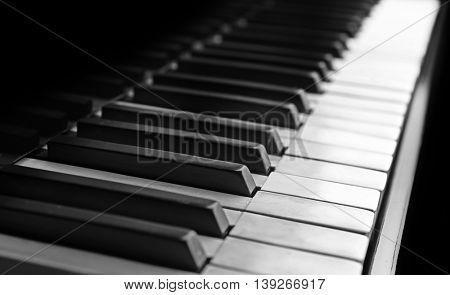 Piano keys closeup