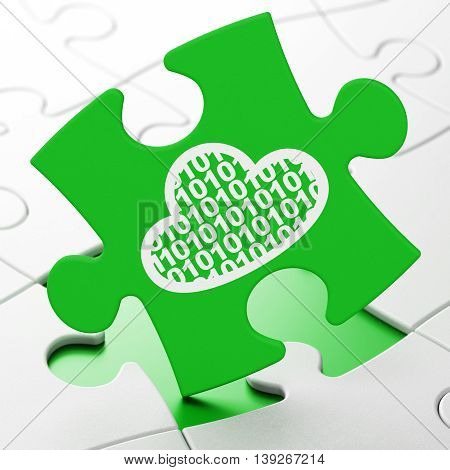 Cloud computing concept: Cloud With Code on Green puzzle pieces background, 3D rendering