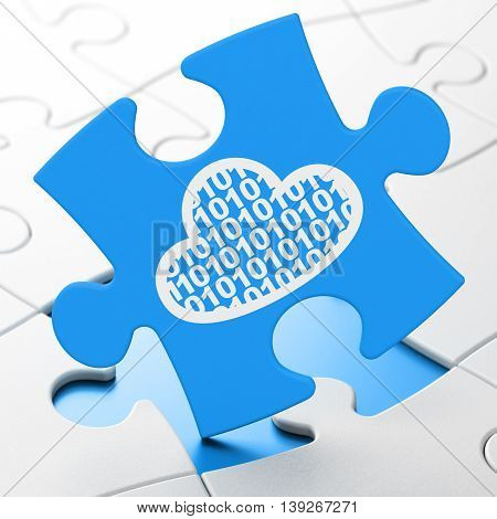Cloud computing concept: Cloud With Code on Blue puzzle pieces background, 3D rendering