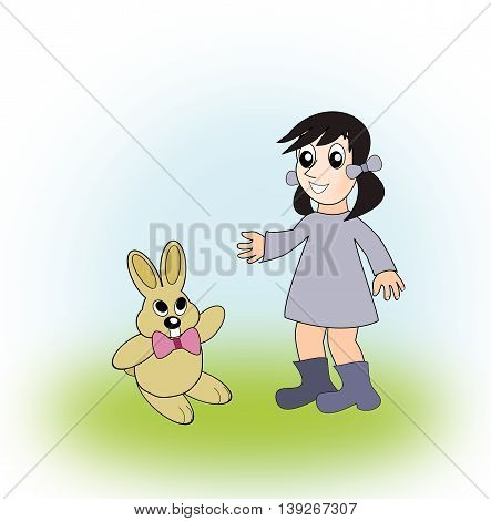 A little girl in a blue dress, with a funny rabbit.