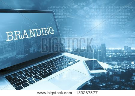 BRANDING : Grey computer monitor screen. Digital Business and Technology Concept.