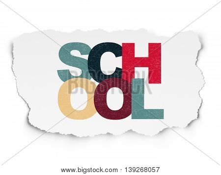 Learning concept: Painted multicolor text School on Torn Paper background