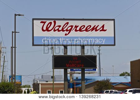 Indianapolis - Circa July 2016: Walgreens Retail Location. Walgreens announced its plans to acquire Rite Aid in a deal worth $17.2 billion IV