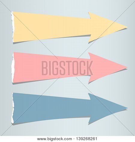 Colorful ripped paper arrows with shadow are on gray background.
