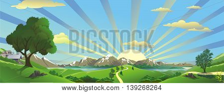 Panorama - landscape. The sunrise over the mountains. Vector illustration.