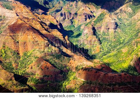 Landscape Detail Of Beautiful Waimea Canyon Colorful Cliffs, Kauai