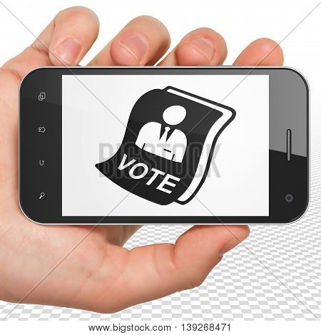 Politics concept: Hand Holding Smartphone with black Ballot icon on display, 3D rendering