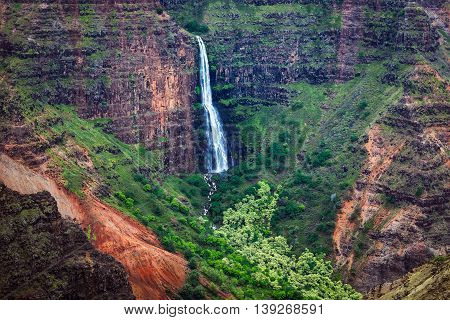 Landscape View Of Waipoo Waterfall In Waimea Canyon, Kauai