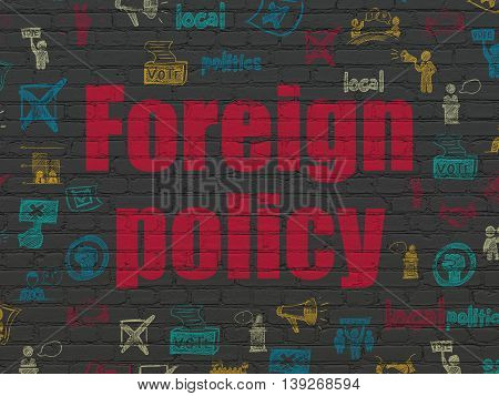 Political concept: Painted red text Foreign Policy on Black Brick wall background with  Hand Drawn Politics Icons