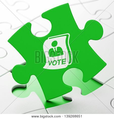 Political concept: Ballot on Green puzzle pieces background, 3D rendering