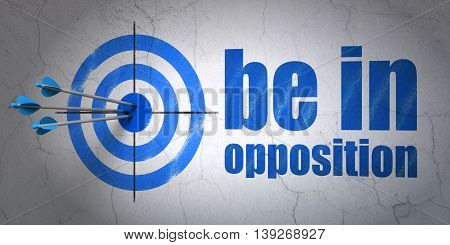 Success politics concept: arrows hitting the center of target, Blue Be in Opposition on wall background, 3D rendering