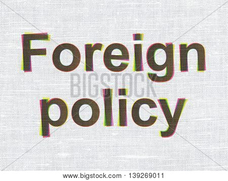 Political concept: CMYK Foreign Policy on linen fabric texture background
