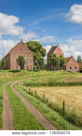 Medieval church on a mound in Ezinge Holland