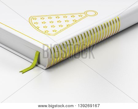 Holiday concept: closed book with Gold Party Hat icon on floor, white background, 3D rendering