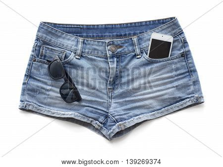 Blue jeans women's shorts on a white background.