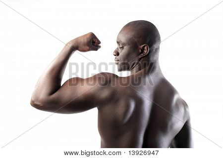 Beautiful african man showing his muscles