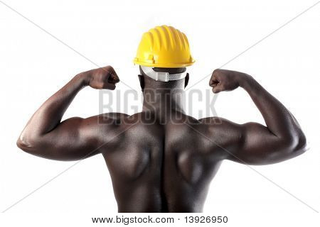 African man with security cap showing his muscles