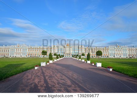 Catherine Palace in Tsarskoe Selo by sunny day suburb of St.Petersburg Russia. Construction 1752-1756 years.
